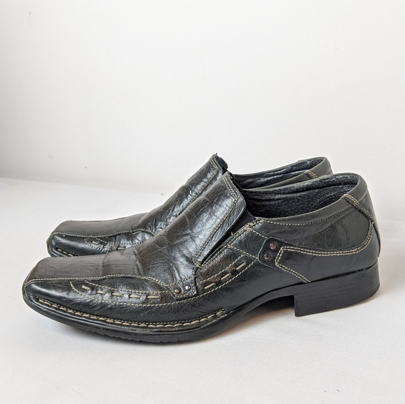 Buckle My Shoe Black Leather Slip On School Shoes Various Sizes NWOB